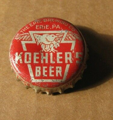 Koehler's Beer   Erie Brewing Co Pa  Keystone Tax Cork Beer Cap Silver Over Red