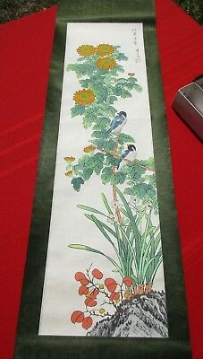 Vintage Chinese Signed Hanging Scroll Painting of Birds in Flowers