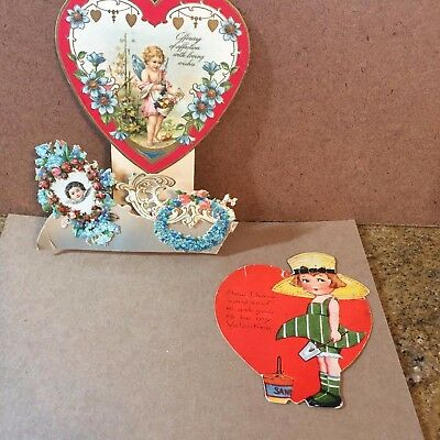 7 Antique/Vintage Valentines Day Incl Pop Out and Beaded Hallmark! 1930-1960?