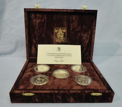 1982/83 11 x SOLID SILVER PROOF SET 75TH ANNIVERSARY SCOUT MOVEMENT, CERT & CASE