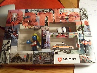 Werbeschlumpf Box MALTESER Schlumpfine +2 Malteser Autos in GIFT BOX Promo Smurf