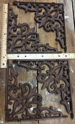 4 Large Ornate Shelf Brackets Cast Iron Rustic Antique Style 9-1/2x9-1/2
