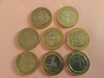 8 different £2 Coins Incl Wales and England Flags