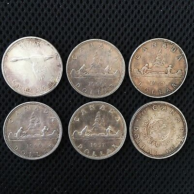Lot Of 6 Canada 1 Dollar Silver Coins 1962 1964 1957 1966 1967 1966