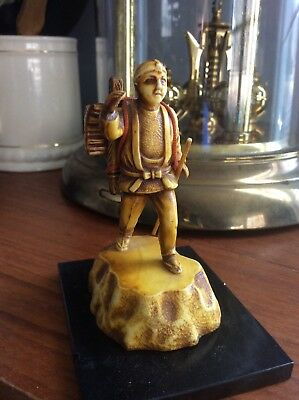 Vintage Celluloid Miniature Asian Man With Reproduction Of Ivory