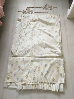 Nursery curtains Mothercare cream 'please look after me' bear with tie-backs