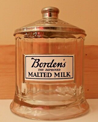"""Borden's """"The Improved Malted Milk"""" Glass Jar with Metal Lid"""