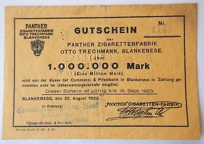 Notgeld 1 Million Mark Panther Zigarettenfabrik Trechmann Blankenese Hamburg Top