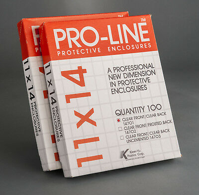 """Pro-Line archival 11x14"""" print film negative transparency sleeves, NEW, 200"""