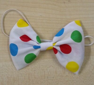 Multi coloured Spotty Bow Tie On Elastic Clown   Fancy Dress Accessories