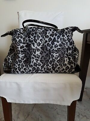 Large Peter Alexander Weekender Overnight Bag. Black, grey, white