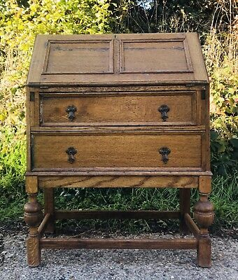 "Small Vintage Blond Oak Antique Writing Bureau Desk 60""s"