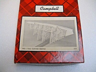 Campbell 110' long Tall Curved Trestle HO #304