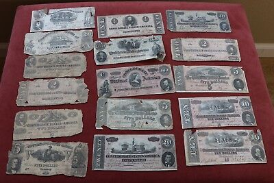 Lot of (16) Confederate Currency Notes Low Grade