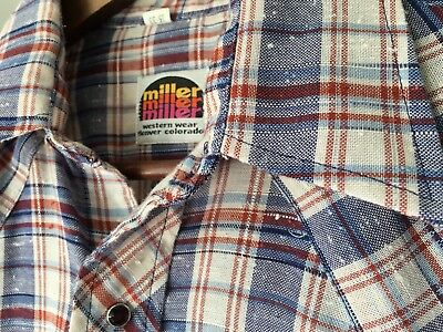 Mens Vintage Miller Western Wear Red White & Blue Pearl Snap Plaid Shirt 15 - 33
