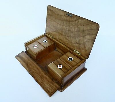 Antique Sorrento Ware Enamel & Olive Wood Card & Games Counters Box c1920s