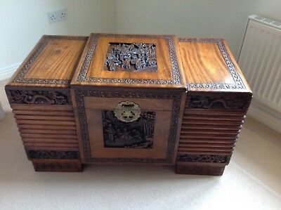 Asian Oriental Carved Camphor Wood Chest, Trunk, Storage, Blanket Box
