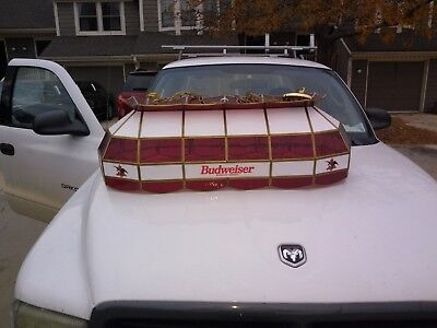 """Budweiser 40"""" Vintage Stained Glass Pooltable Light perfect condition"""