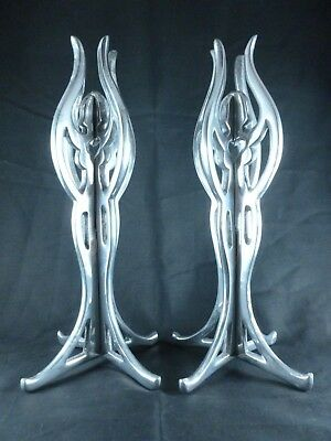 WONDERFUL pair of chrome ART DECO erotic/nude lady CANDLESTICKS / HOLDERS