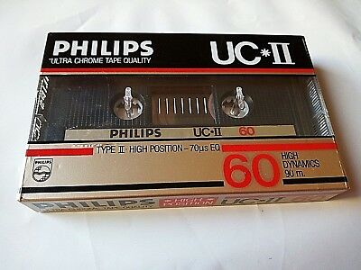 CASSETTE TAPE BLANK SEALED  1x PHILIPS UC*II 60 [1985-86] made in Belgium