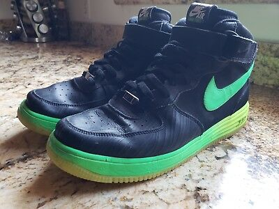 b665499d2170 Nike Lunar Force One Mid Leather Shoes Black Green 555089-004 Size 12 Air  Force