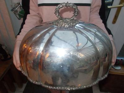 Large Victorian Silver Plated Domed Meat Cover Dated 1858