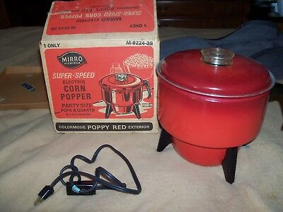 Vintage Mirro Electric Popcorn Popper Poppy Red Color With Box Model 9224-39