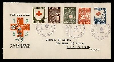Dr Who 1953 Netherlands Red Cross Fdc Pictorial Cancel C60102