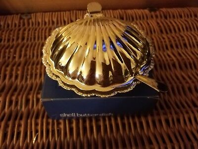 Brama vintage silver plate shell butter dish.