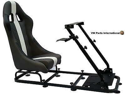 Car Gaming Racing Simulator Frame Chair Bucket Seat PC PS3 PS4 XBox Grey/White