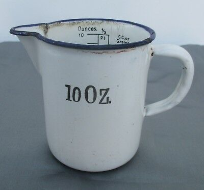 Vintage Enamel 10 oz measuring jug white with blue trim