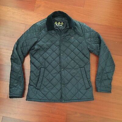 VTG Men's BARBOUR Snap Quilted Jacket Size Small Navy Bird Corduroy Collar Rare