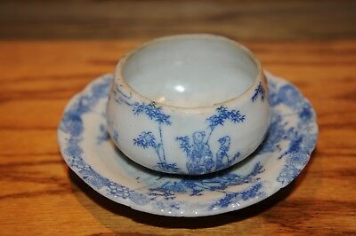 """Antique Chinese Sipping Cup And Saucer Asian Pottery  Measures 4-3/4 """" Inch Old."""