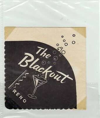 THE BLACKOUT BAR DOWNTOWN VIRGINIA ST. RENO NEVADA COCKTAIL NAPKIN - see note
