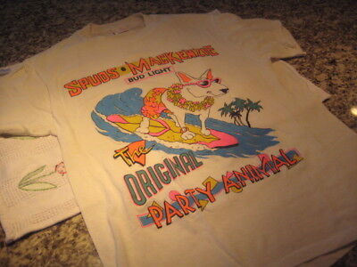 vintage bud light spuds mackenzie the original party animal surf t shirt XL 80's