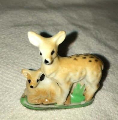 Mother Deer W/fawn Porcelain Figurine / Japan / 2.5 Inches