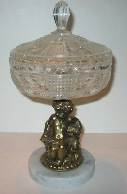 Vintage Cherub Marble Base with Crystal Compote Candy Bowl Dish Western Germany