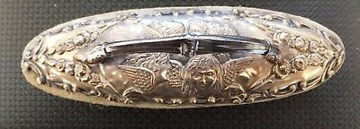 SILVER CHERUB OVAL NAIL BUFFER  About 100 mm Long 38 mm High 30 mm Wide Chester