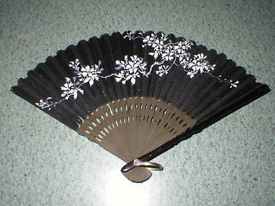 """Vintage Chinese Black Cloth Fan Hand Painted Flowers With Wood Ribs 6"""""""