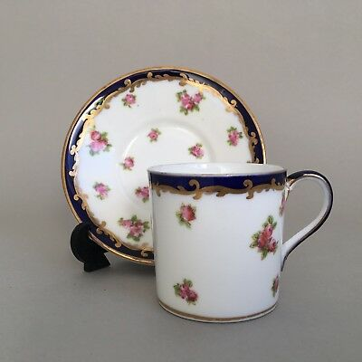 George Jones Crescent China Rosebud Demi Tasse Coffee Cup Can And Saucer
