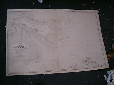 Vintage Admiralty Chart 1602 APPROACHES TO YANG TSE KIANG 1881 edition