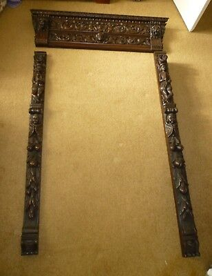 Carved Wooden Panels - 3 Pieces - Antique