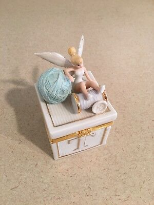 Preowned Lenox Tinkerbell Trinket Box with Sewing Theme in Excellent Condition