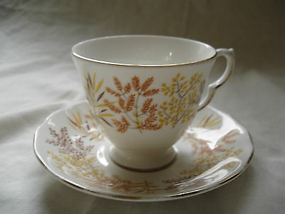 Vintage Royal Vale Bone China Cup And Saucer With Brown & Yellow Leaves