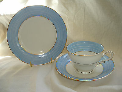 Vintage James  Kent Bone China Trio Decorated With Pale Blue Bands