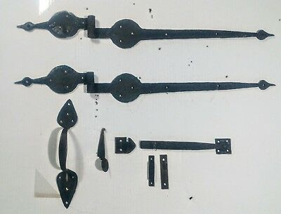 Forged Iron Door Hinges Knob LARGE 1700s COMPLETE SET 18th Century Colonial