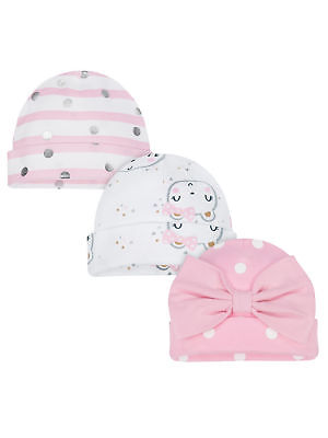 Gerber Baby Girls 3 Pack Organic Caps NEW Sizes Newborn, 0-6 Months Hats
