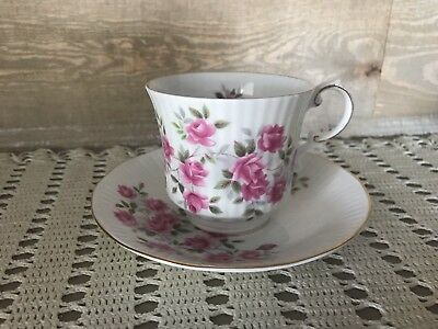 Queens Pink Roses Teacup and Saucer Vintage Rosina Tea Cup and Saucer