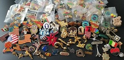 Large Lot of Vintage Mostly Lapel Pins over 75 pieces
