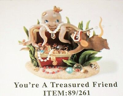 Fitz and Floyd Charming Tails Octopus YOU'RE A TREASURED FRIEND Mouse Figurine